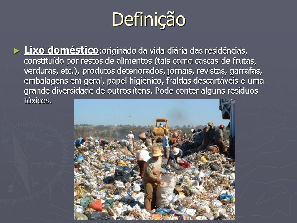 Definição Lixo doméstico :originado da vida diária das residências, constituído por restos de alimentos (tais como cascas de frutas, verduras, etc.),