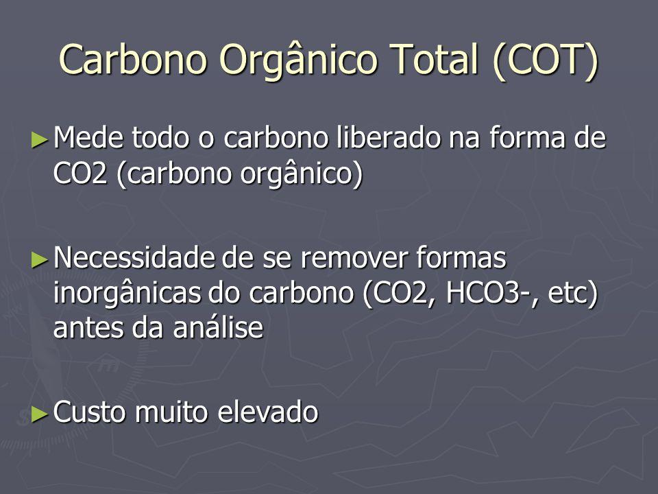 Carbono Orgânico Total (COT) Mede todo o carbono liberado na forma de CO2 (carbono orgânico) Mede todo o carbono liberado na forma de CO2 (carbono org