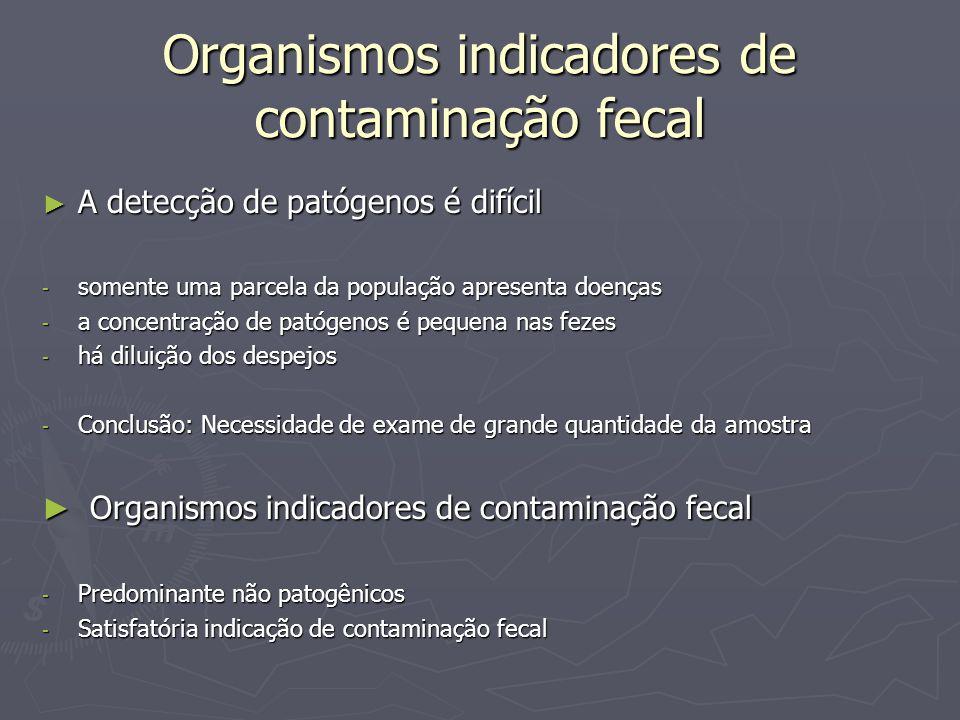 Organismos indicadores de contaminação fecal A detecção de patógenos é difícil A detecção de patógenos é difícil - somente uma parcela da população ap