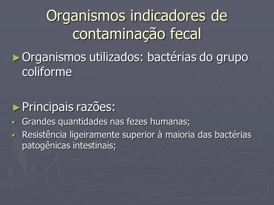 Organismos indicadores de contaminação fecal Organismos utilizados: bactérias do grupo coliforme Organismos utilizados: bactérias do grupo coliforme P