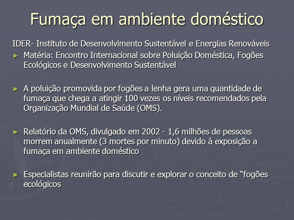 Fumaça em ambiente doméstico IDER- Instituto de Desenvolvimento Sustentável e Energias Renováveis Matéria: Encontro Internacional sobre Poluição Domés
