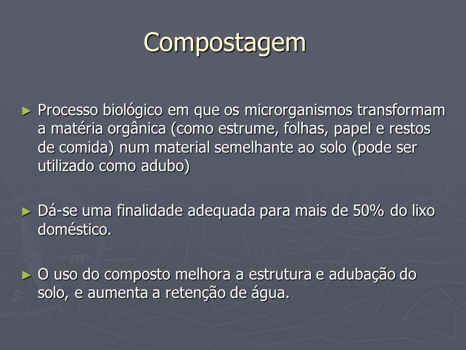 Compostagem Processo biológico em que os microrganismos transformam a matéria orgânica (como estrume, folhas, papel e restos de comida) num material s
