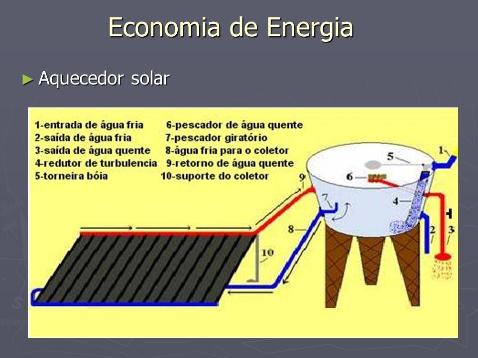 Economia de Energia Aquecedor solar Aquecedor solar