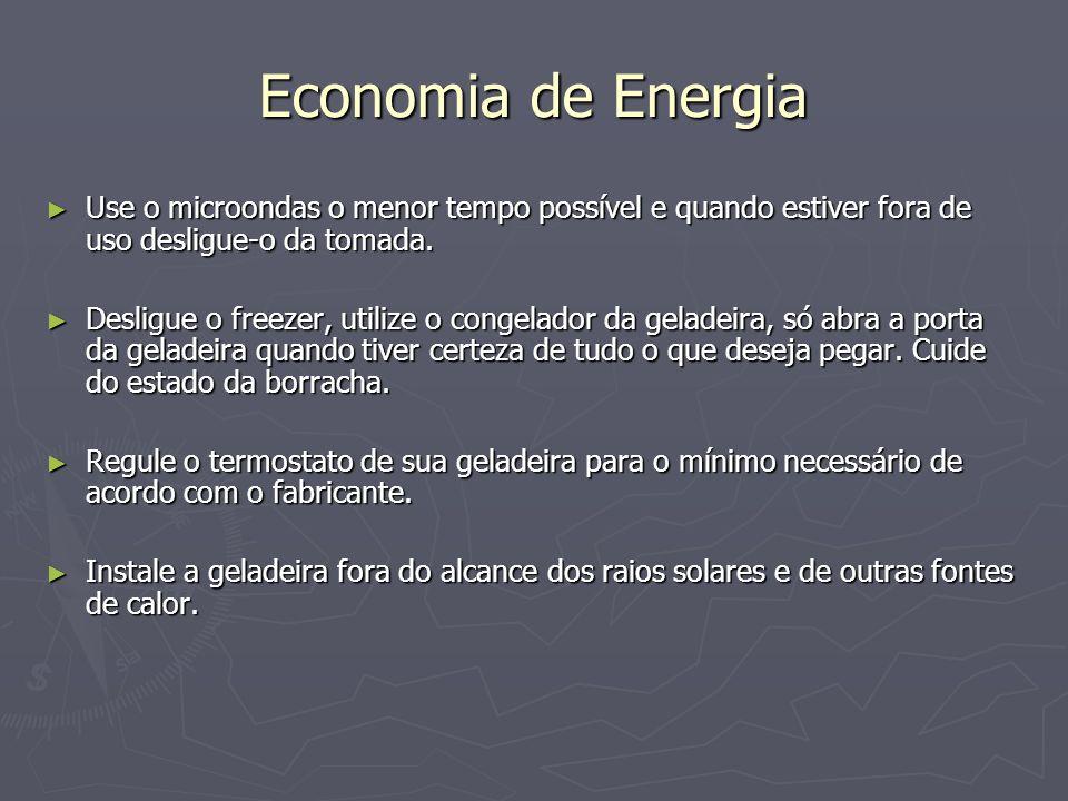 Economia de Energia Use o microondas o menor tempo possível e quando estiver fora de uso desligue-o da tomada. Use o microondas o menor tempo possível
