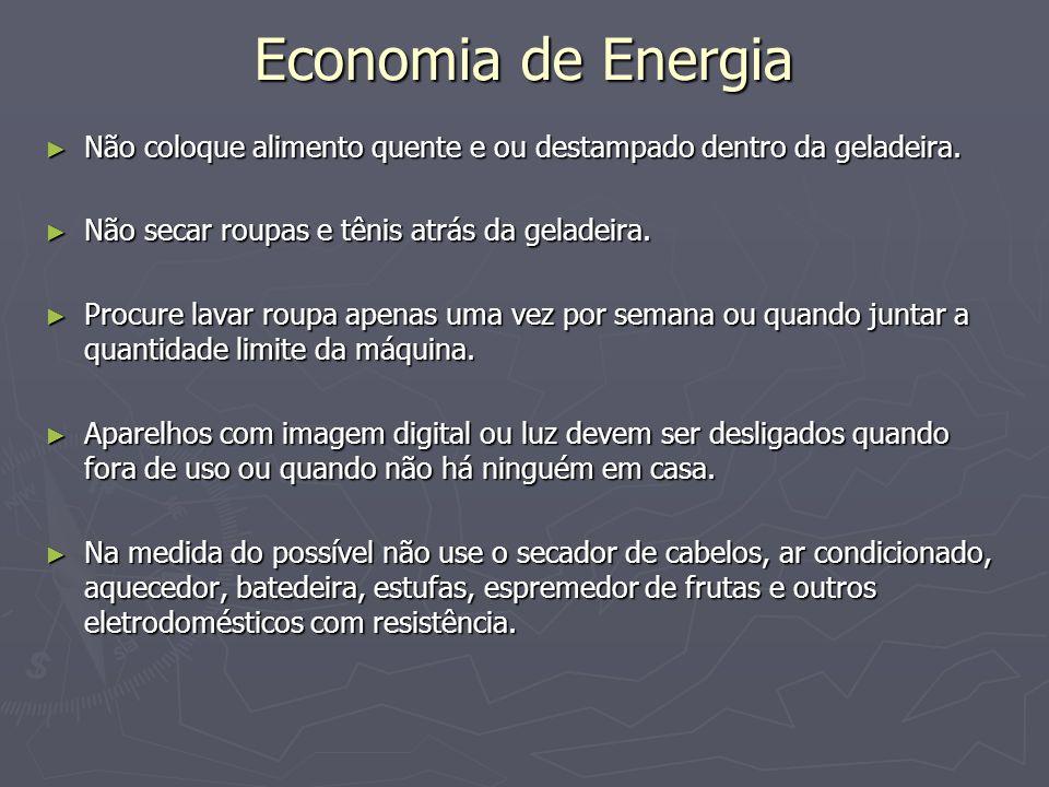 Economia de Energia Não coloque alimento quente e ou destampado dentro da geladeira. Não coloque alimento quente e ou destampado dentro da geladeira.