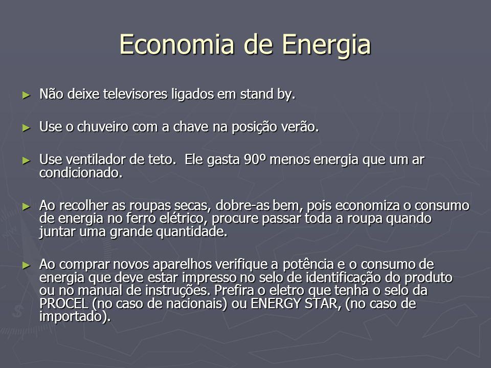 Economia de Energia Não deixe televisores ligados em stand by. Não deixe televisores ligados em stand by. Use o chuveiro com a chave na posição verão.