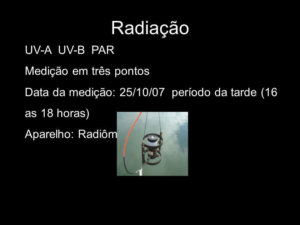 Radiação UV-A UV-B PAR Medição em três pontos Data da medição: 25/10/07 período da tarde (16 as 18 horas) Aparelho: Radiômetro
