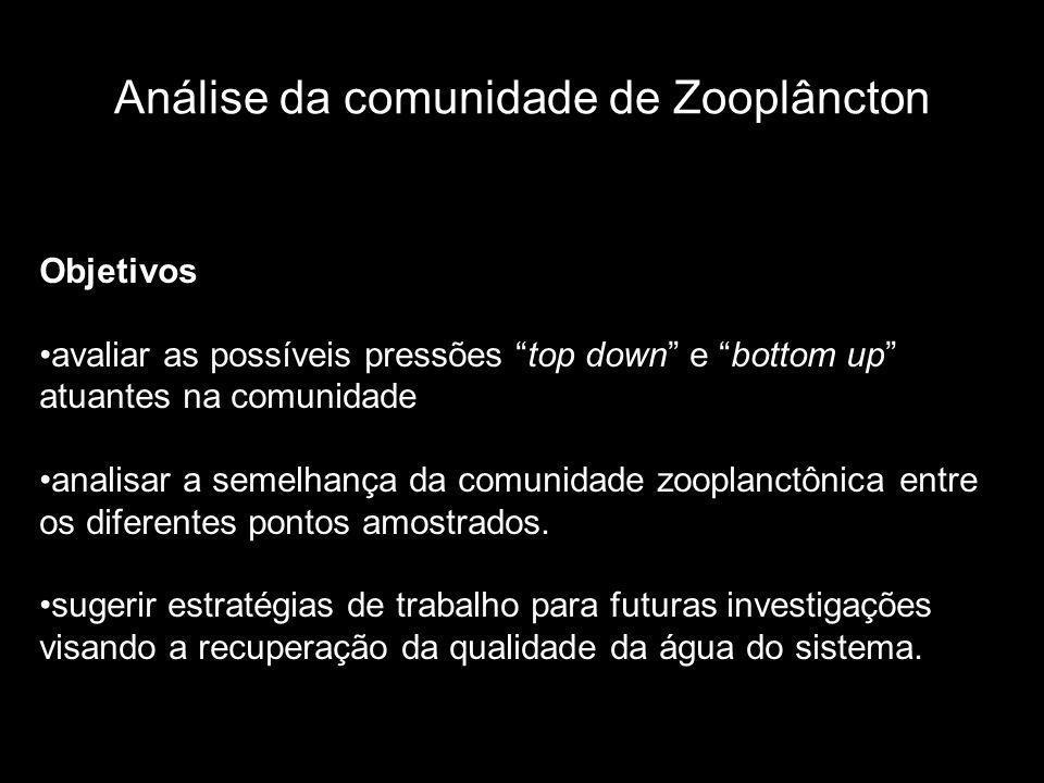Análise da comunidade de Zooplâncton Objetivos avaliar as possíveis pressões top down e bottom up atuantes na comunidade analisar a semelhança da comunidade zooplanctônica entre os diferentes pontos amostrados.