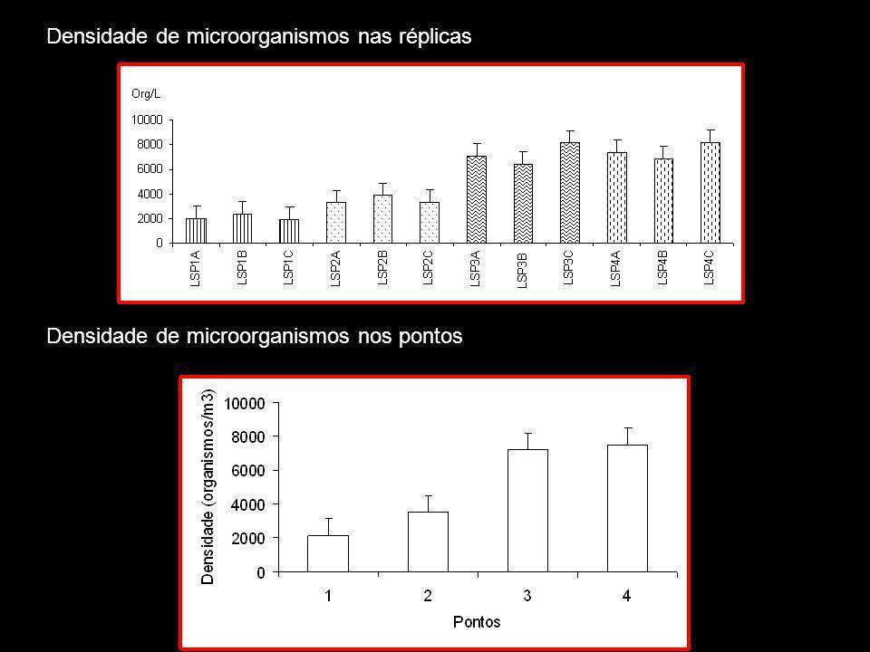Densidade de microorganismos nas réplicas Densidade de microorganismos nos pontos