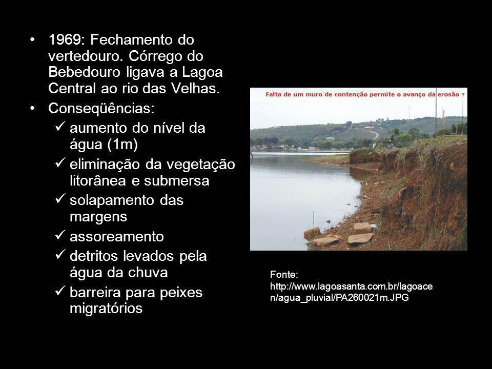 1969: Fechamento do vertedouro.Córrego do Bebedouro ligava a Lagoa Central ao rio das Velhas.