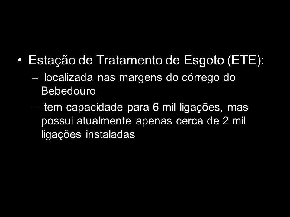 Estação de Tratamento de Esgoto (ETE): – localizada nas margens do córrego do Bebedouro – tem capacidade para 6 mil ligações, mas possui atualmente apenas cerca de 2 mil ligações instaladas