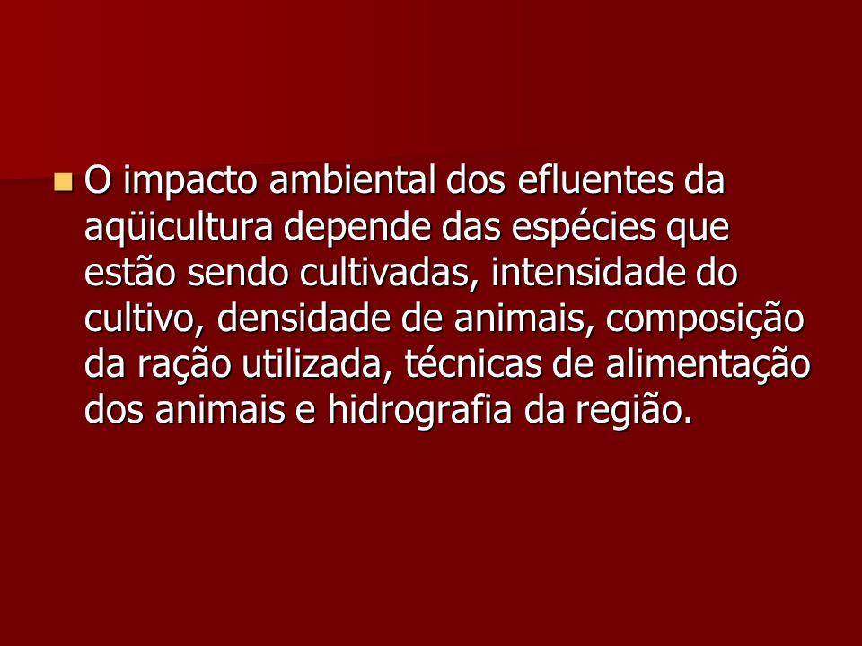 O impacto ambiental dos efluentes da aqüicultura depende das espécies que estão sendo cultivadas, intensidade do cultivo, densidade de animais, compos