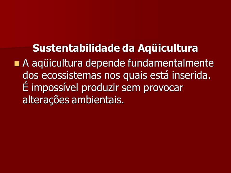 Sustentabilidade da Aqüicultura A aqüicultura depende fundamentalmente dos ecossistemas nos quais está inserida. É impossível produzir sem provocar al