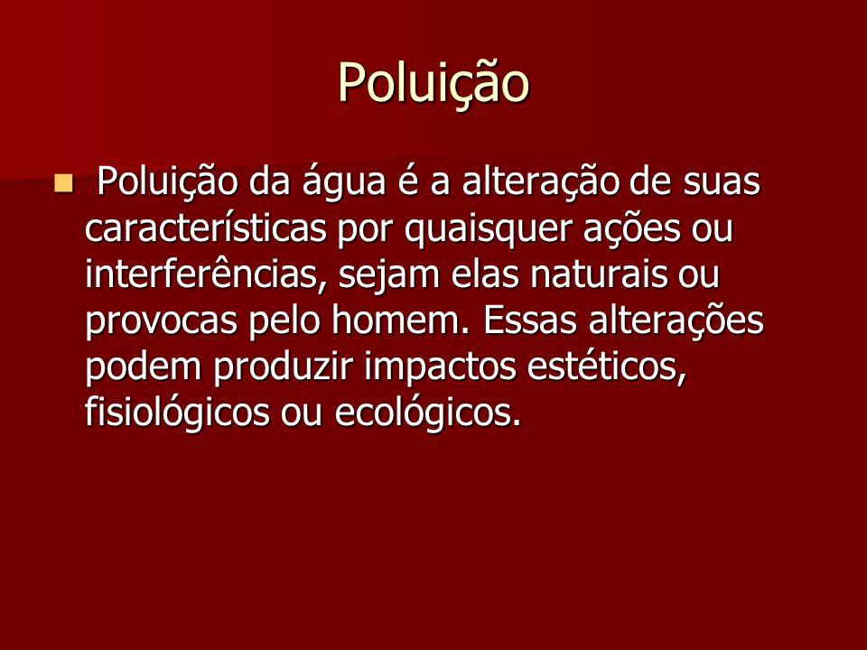 Poluição Poluição da água é a alteração de suas características por quaisquer ações ou interferências, sejam elas naturais ou provocas pelo homem. Ess