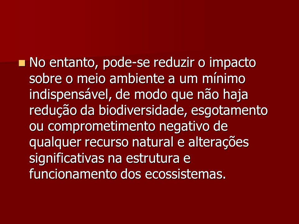 No entanto, pode-se reduzir o impacto sobre o meio ambiente a um mínimo indispensável, de modo que não haja redução da biodiversidade, esgotamento ou