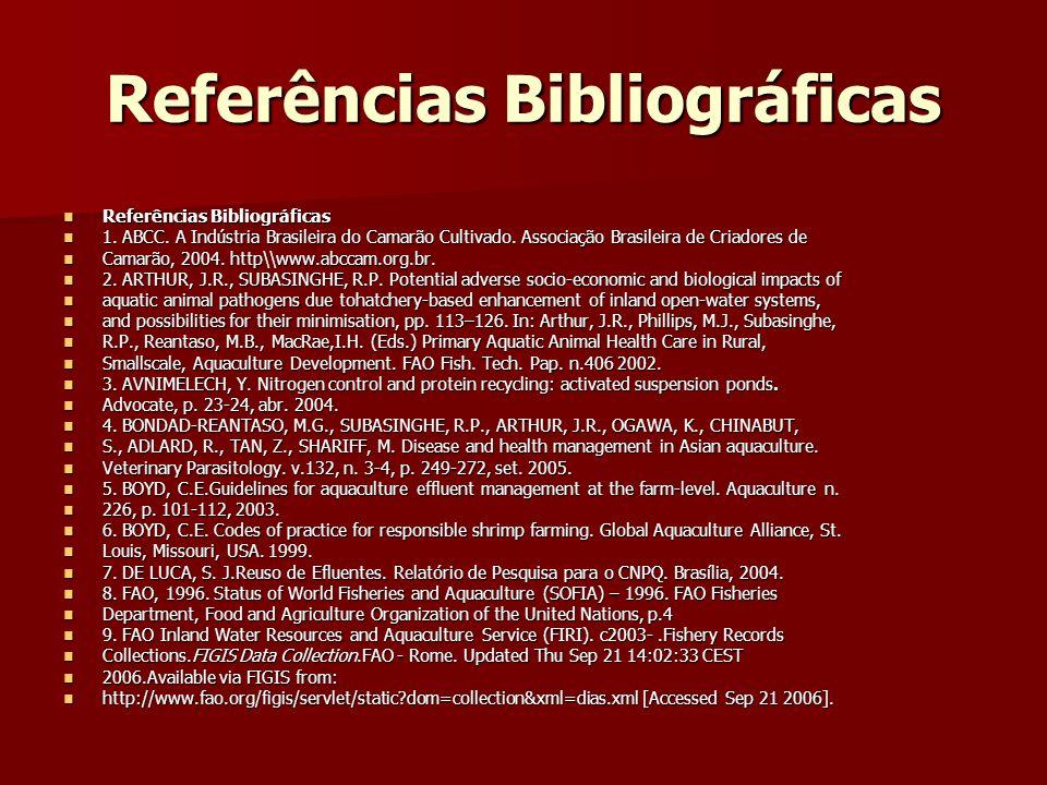 Referências Bibliográficas Referências Bibliográficas Referências Bibliográficas 1. ABCC. A Indústria Brasileira do Camarão Cultivado. Associação Bras