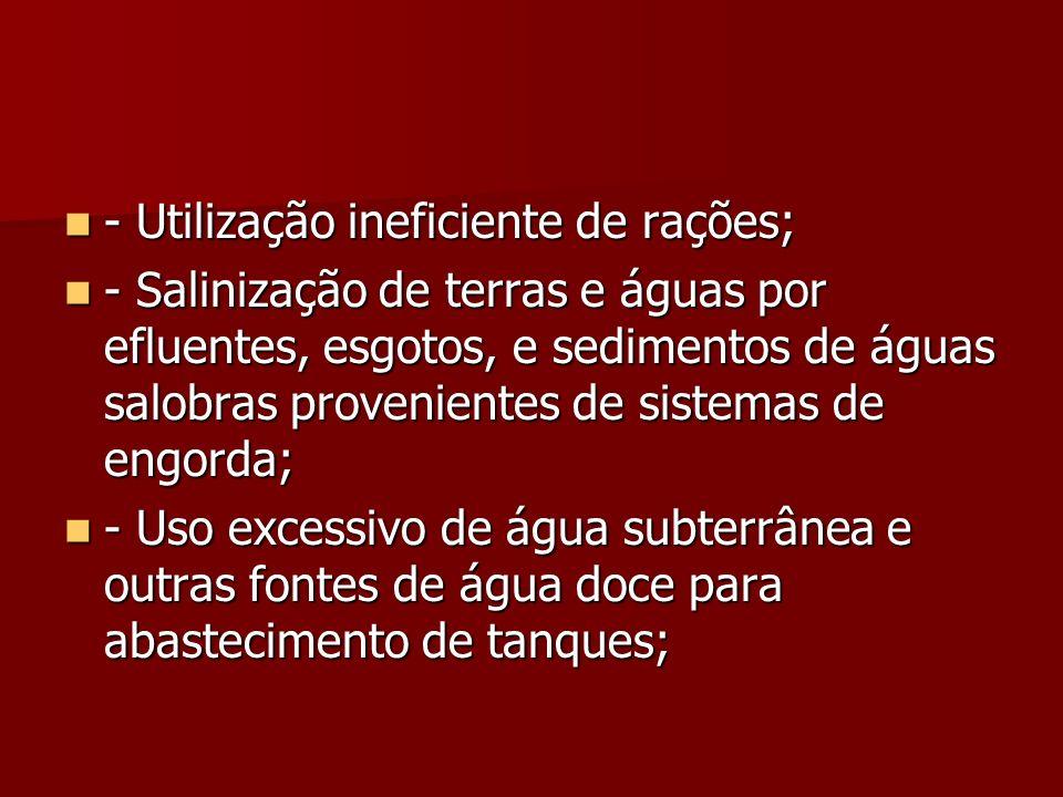 - Utilização ineficiente de rações; - Utilização ineficiente de rações; - Salinização de terras e águas por efluentes, esgotos, e sedimentos de águas
