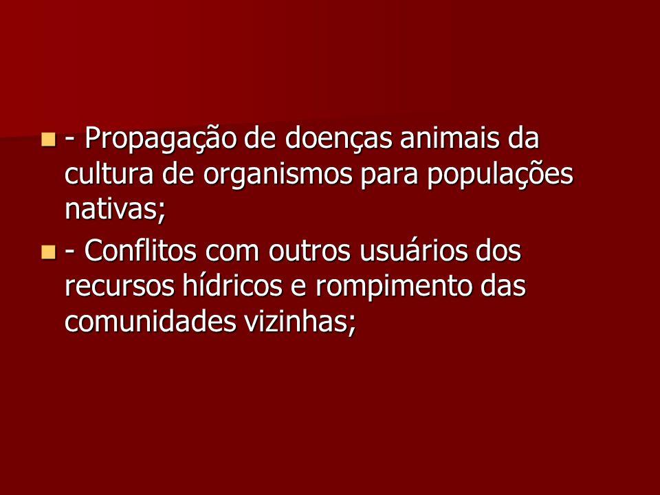 - Propagação de doenças animais da cultura de organismos para populações nativas; - Propagação de doenças animais da cultura de organismos para popula