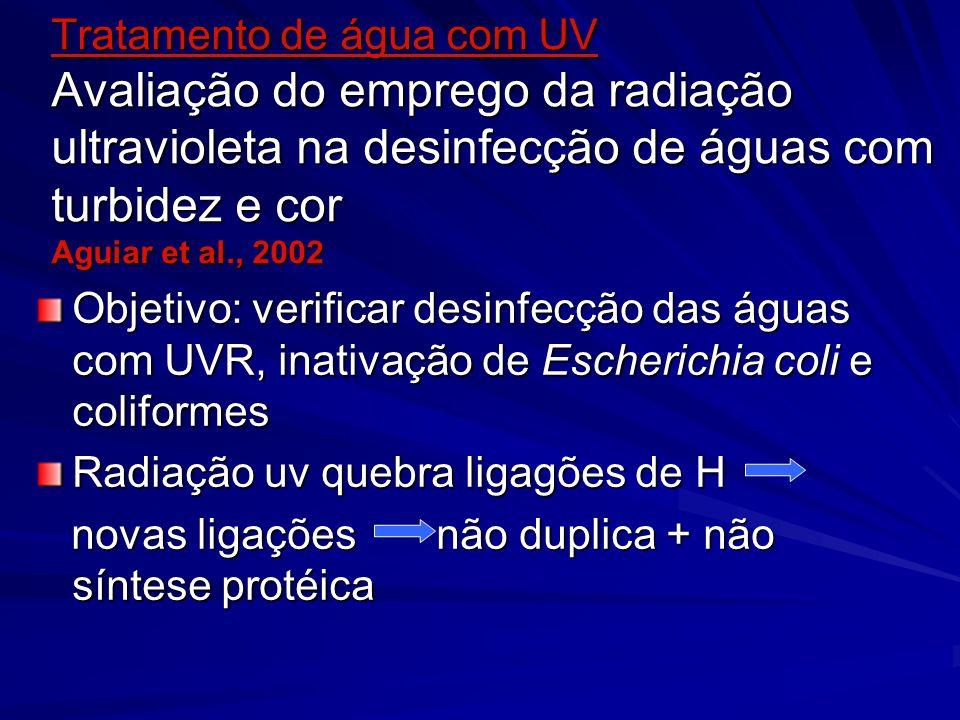 Tratamento de água com UV Avaliação do emprego da radiação ultravioleta na desinfecção de águas com turbidez e cor Aguiar et al., 2002 Objetivo: verif