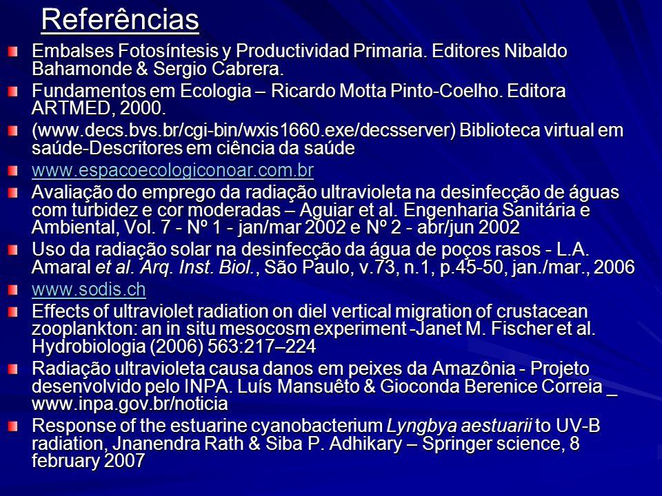 Referências Embalses Fotosíntesis y Productividad Primaria. Editores Nibaldo Bahamonde & Sergio Cabrera. Fundamentos em Ecologia – Ricardo Motta Pinto