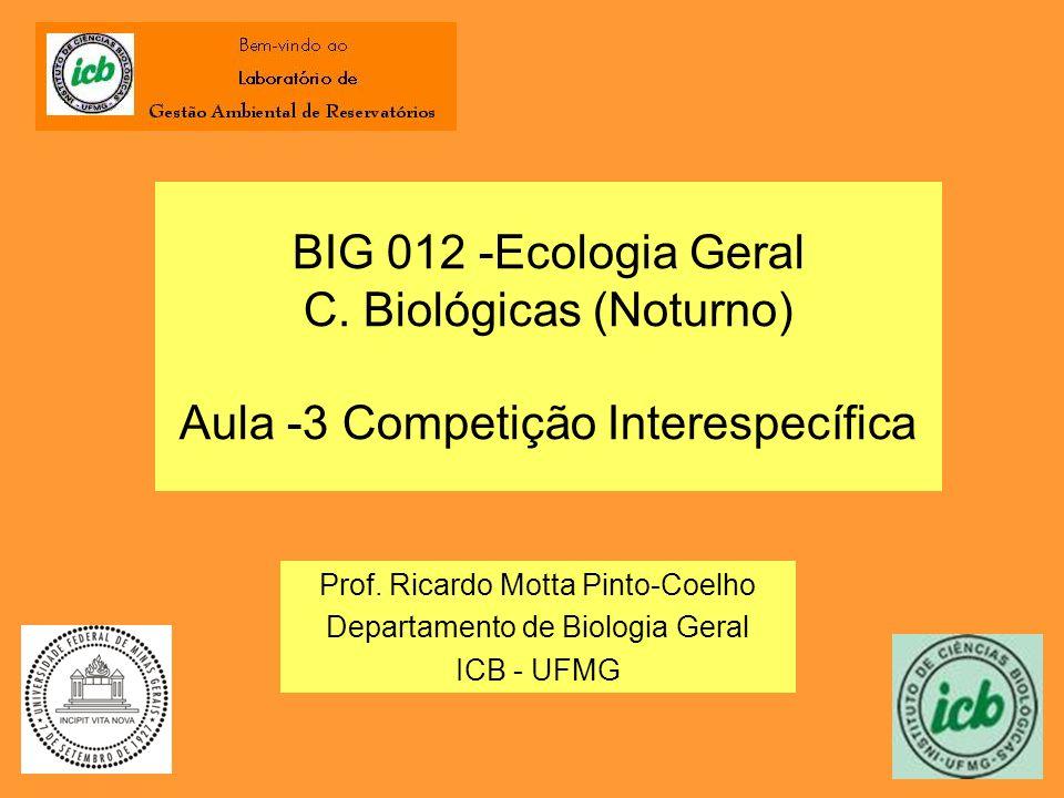 BIG 012 -Ecologia Geral C. Biológicas (Noturno) Aula -3 Competição Interespecífica Prof. Ricardo Motta Pinto-Coelho Departamento de Biologia Geral ICB