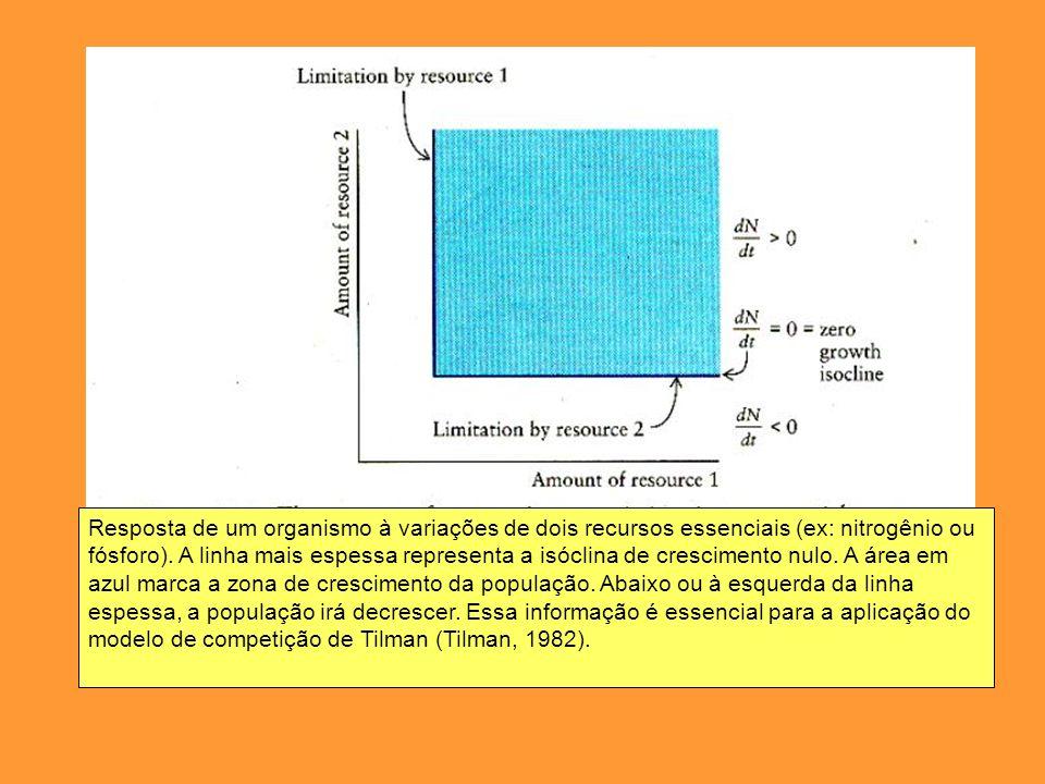 Resposta de um organismo à variações de dois recursos essenciais (ex: nitrogênio ou fósforo). A linha mais espessa representa a isóclina de cresciment