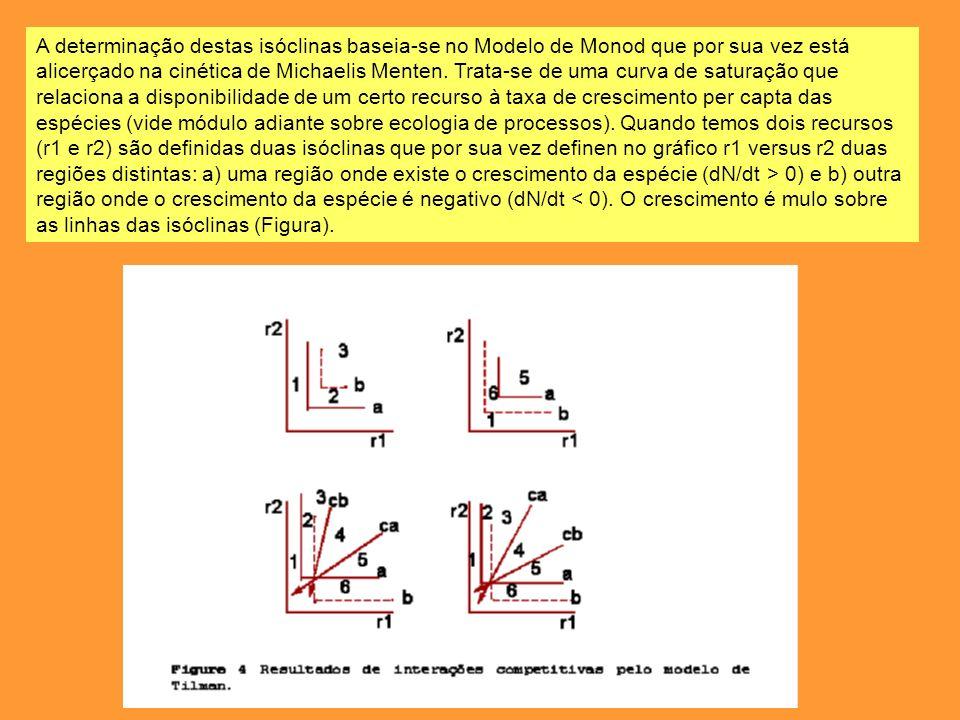 A determinação destas isóclinas baseia-se no Modelo de Monod que por sua vez está alicerçado na cinética de Michaelis Menten. Trata-se de uma curva de