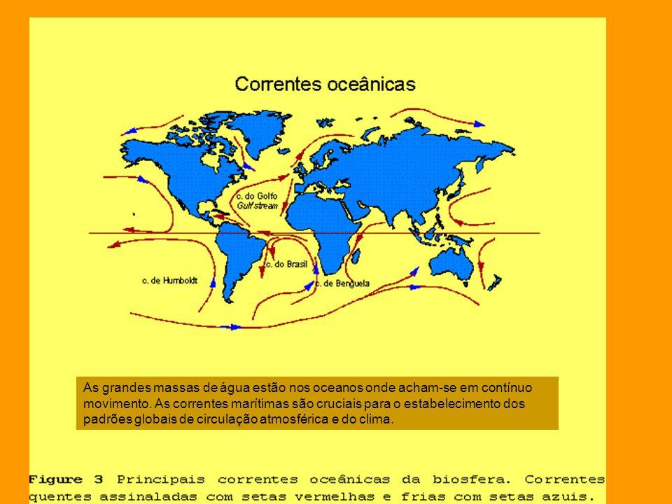 As grandes massas de água estão nos oceanos onde acham-se em contínuo movimento. As correntes marítimas são cruciais para o estabelecimento dos padrõe