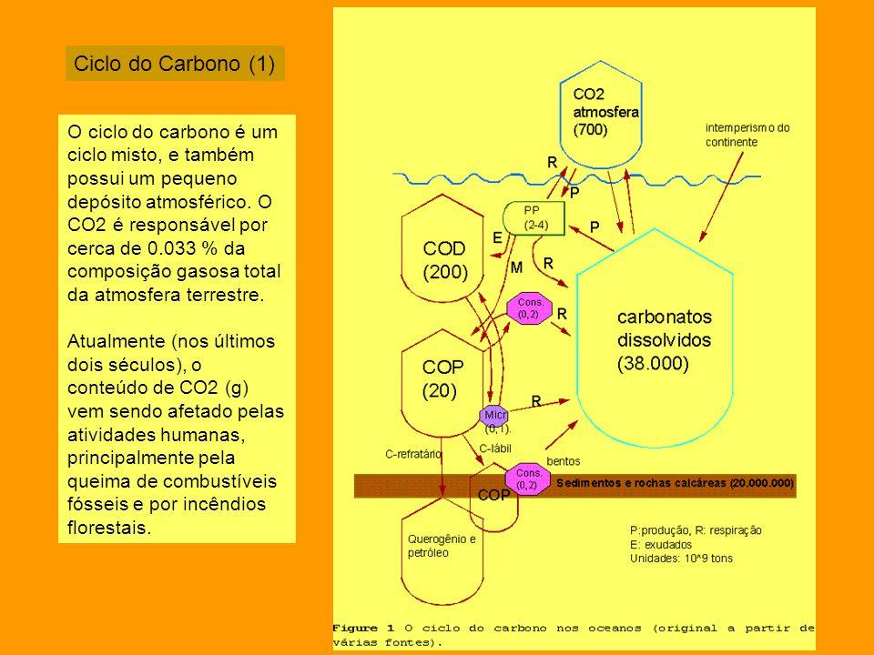 Ciclo do Carbono (1) O ciclo do carbono é um ciclo misto, e também possui um pequeno depósito atmosférico. O CO2 é responsável por cerca de 0.033 % da