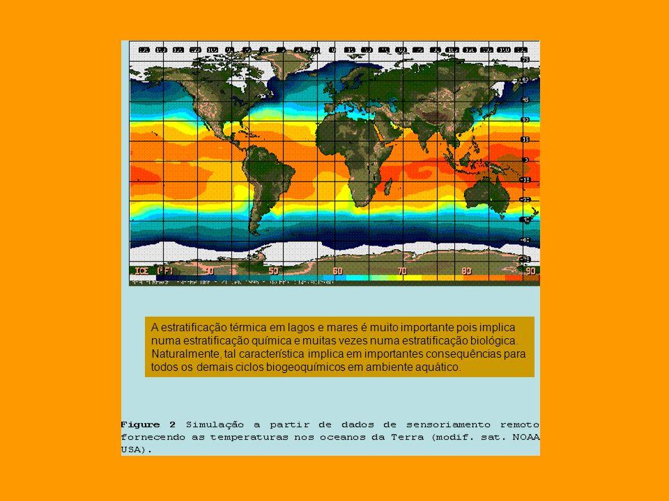 A estratificação térmica em lagos e mares é muito importante pois implica numa estratificação química e muitas vezes numa estratificação biológica. Na