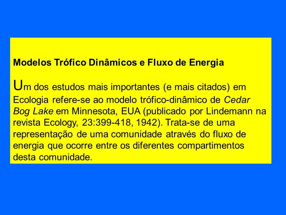 Modelos Trófico Dinâmicos e Fluxo de Energia U m dos estudos mais importantes (e mais citados) em Ecologia refere-se ao modelo trófico-dinâmico de Ced