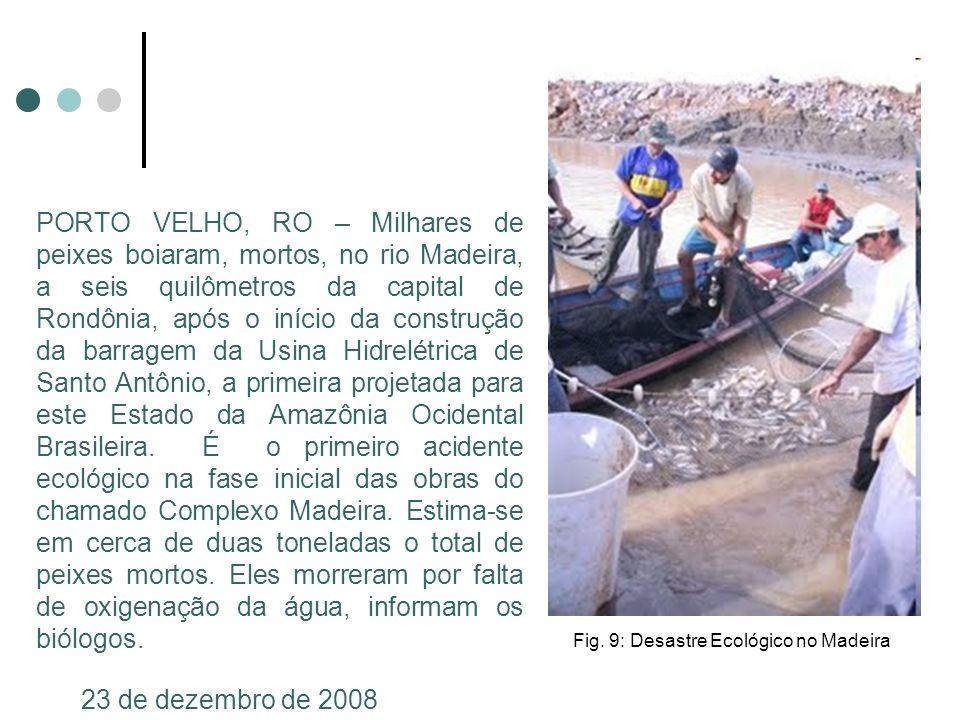 PORTO VELHO, RO – Milhares de peixes boiaram, mortos, no rio Madeira, a seis quilômetros da capital de Rondônia, após o início da construção da barrag