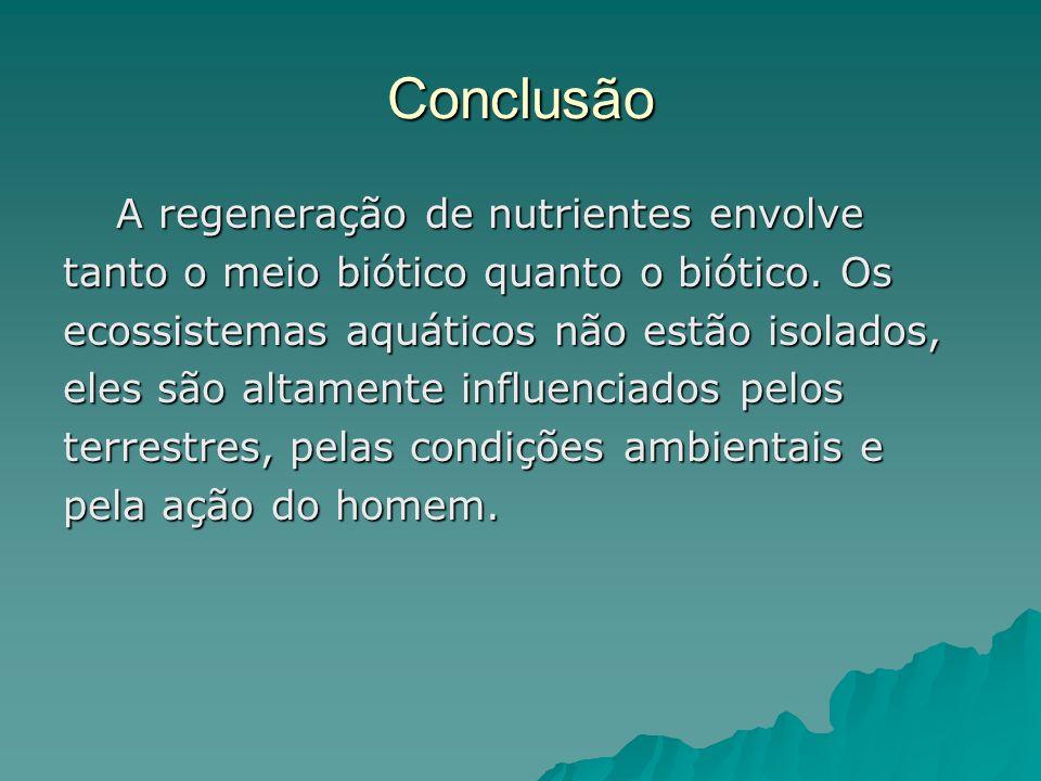 Conclusão A regeneração de nutrientes envolve A regeneração de nutrientes envolve tanto o meio biótico quanto o biótico. Os ecossistemas aquáticos não