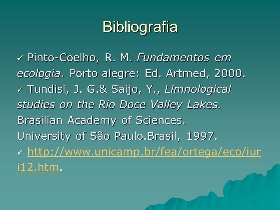 Bibliografia Pinto-Coelho, R. M. Fundamentos em Pinto-Coelho, R. M. Fundamentos em ecologia. Porto alegre: Ed. Artmed, 2000. Tundisi, J. G.& Saijo, Y.