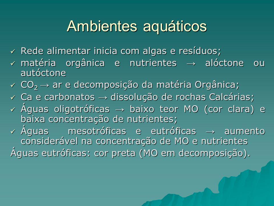Ambientes aquáticos Rede alimentar inicia com algas e resíduos; Rede alimentar inicia com algas e resíduos; matéria orgânica e nutrientes alóctone ou