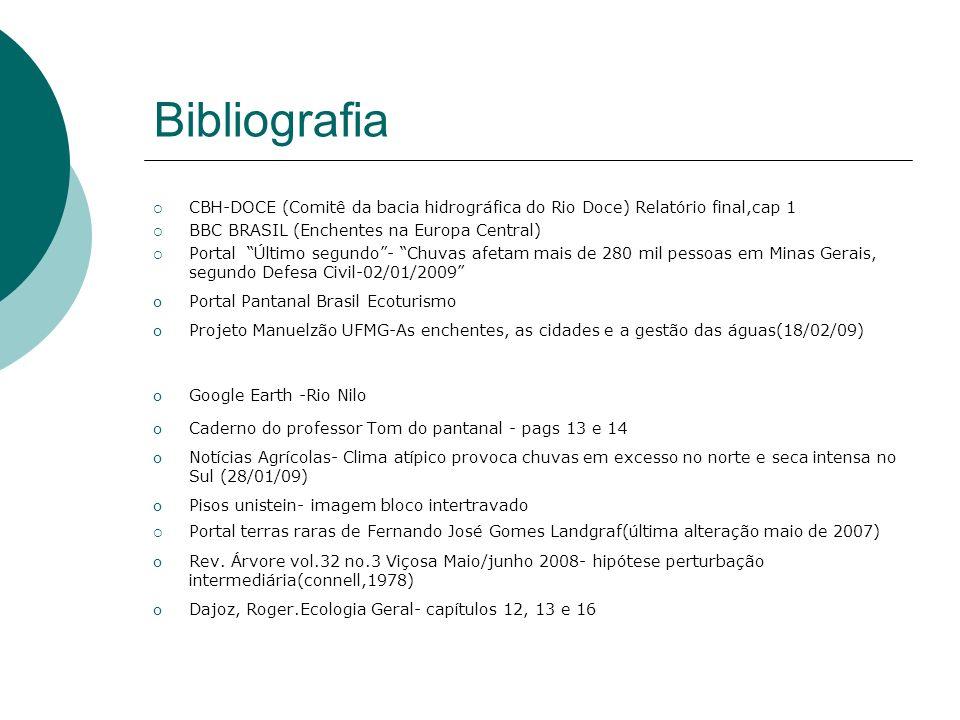 Bibliografia CBH-DOCE (Comitê da bacia hidrográfica do Rio Doce) Relatório final,cap 1 BBC BRASIL (Enchentes na Europa Central) Portal Último segundo-