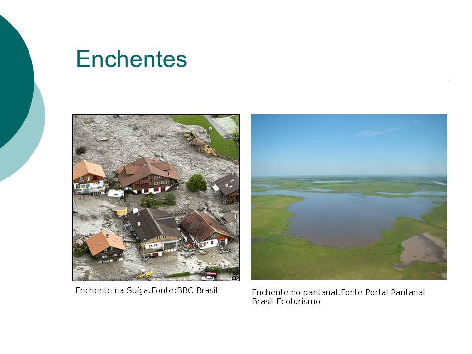 Enchentes Enchente na Suíça.Fonte:BBC Brasil Enchente no pantanal.Fonte Portal Pantanal Brasil Ecoturismo