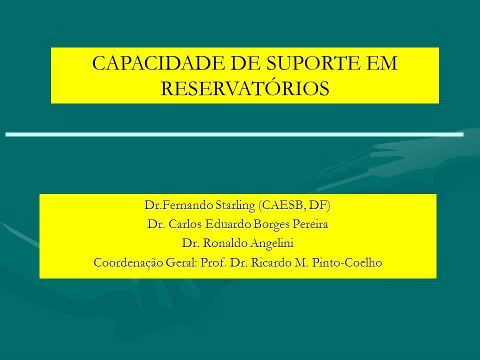 CAPACIDADE DE SUPORTE EM RESERVATÓRIOS Dr.Fernando Starling (CAESB, DF) Dr. Carlos Eduardo Borges Pereira Dr. Ronaldo Angelini Coordenação Geral: Prof