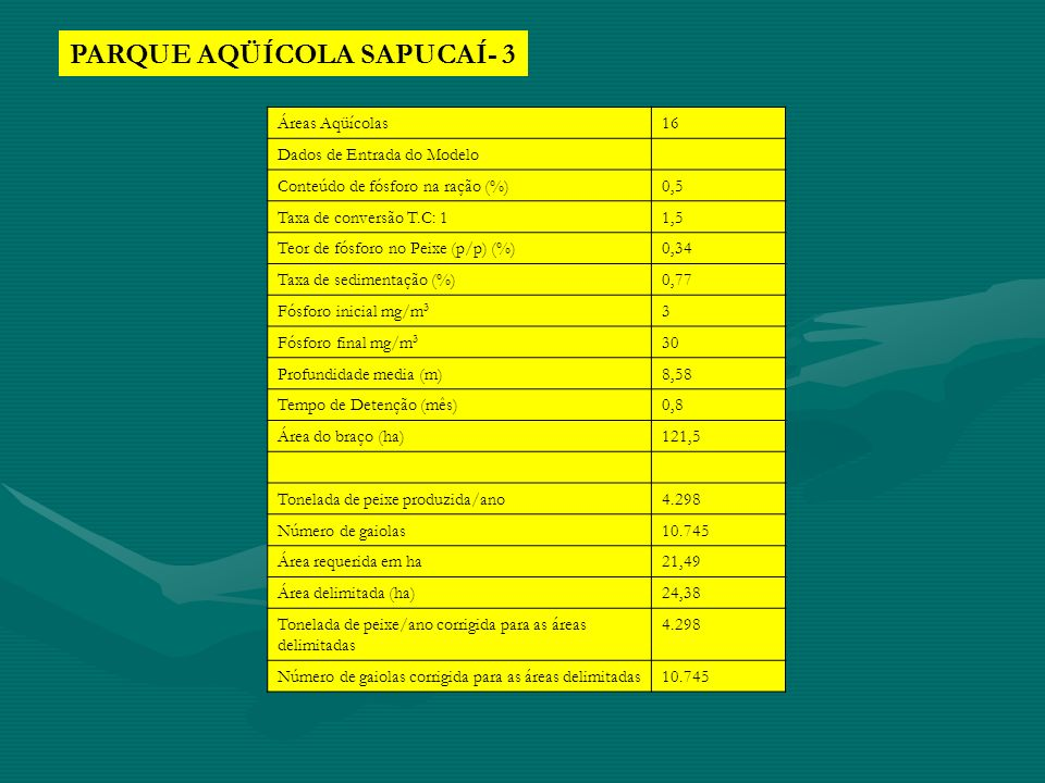 PARQUE AQÜÍCOLA SAPUCAÍ- 3 Áreas Aqüícolas16 Dados de Entrada do Modelo Conteúdo de fósforo na ração (%)0,5 Taxa de conversão T.C: 11,5 Teor de fósfor