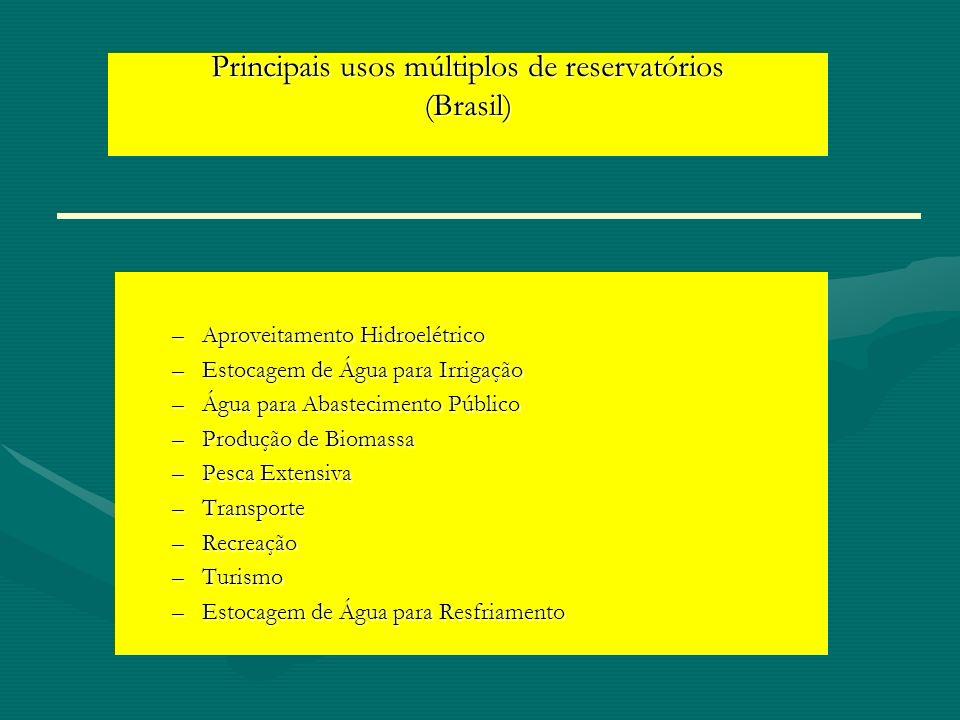 Principais usos múltiplos de reservatórios (Brasil) –Aproveitamento Hidroelétrico –Estocagem de Água para Irrigação –Água para Abastecimento Público –