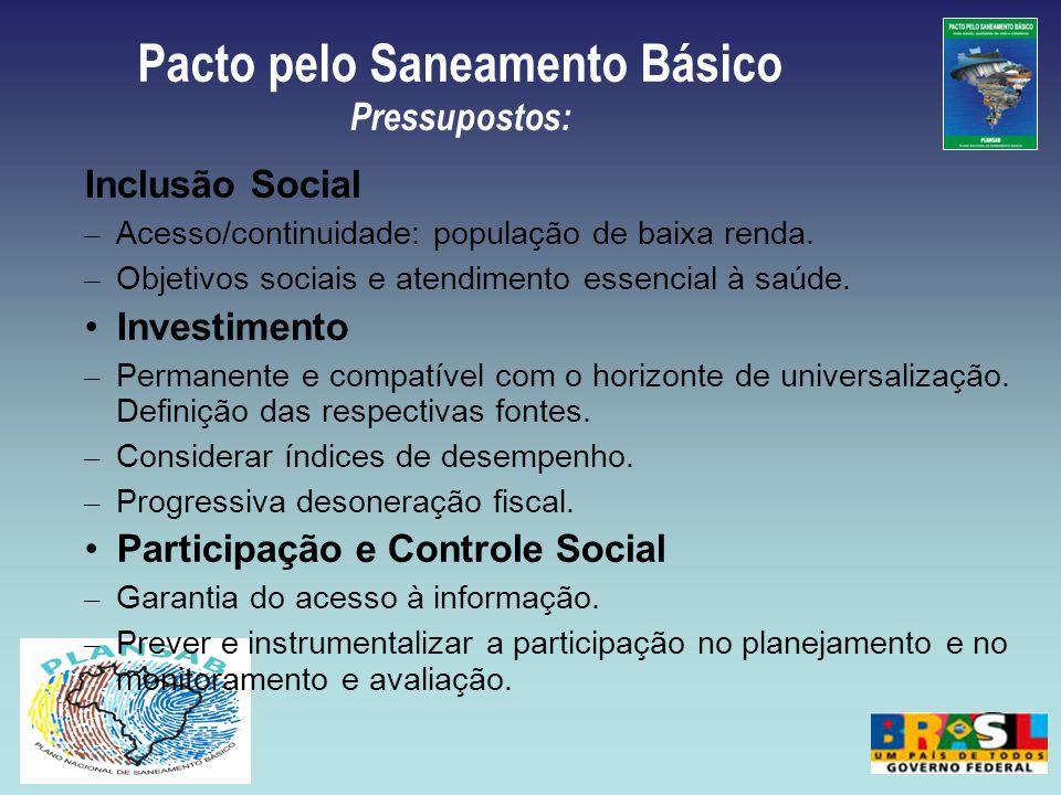 Pacto pelo Saneamento Básico Pressupostos: Inclusão Social – Acesso/continuidade: população de baixa renda. – Objetivos sociais e atendimento essencia