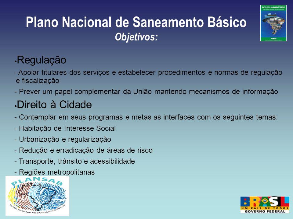 Plano Nacional de Saneamento Básico Objetivos: Regulação - Apoiar titulares dos serviços e estabelecer procedimentos e normas de regulação e fiscaliza