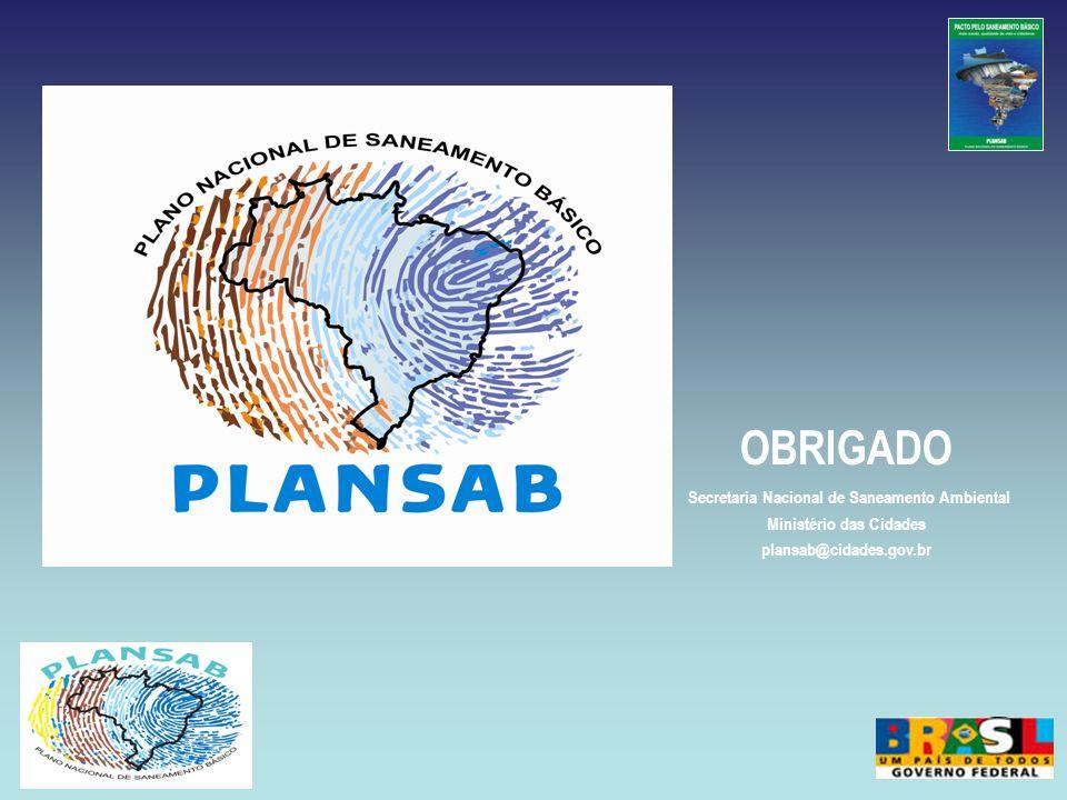 OBRIGADO Secretaria Nacional de Saneamento Ambiental Ministério das Cidades plansab@cidades.gov.br