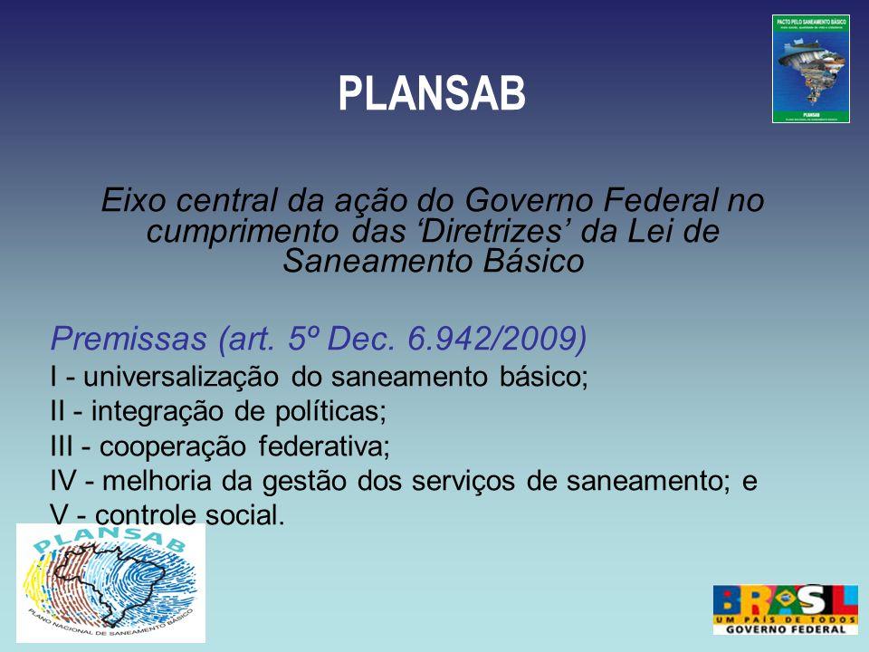 PLANSAB Eixo central da ação do Governo Federal no cumprimento das Diretrizes da Lei de Saneamento Básico Premissas (art. 5º Dec. 6.942/2009) I - univ