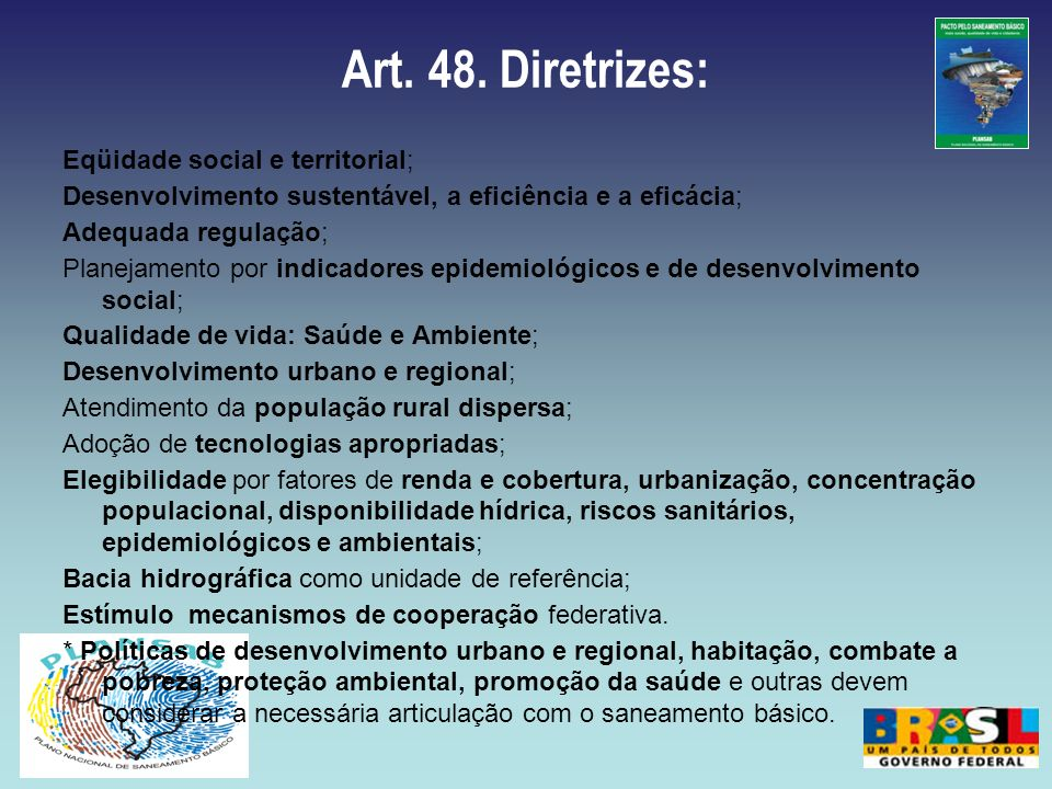 Art. 48. Diretrizes: Eqüidade social e territorial; Desenvolvimento sustentável, a eficiência e a eficácia; Adequada regulação; Planejamento por indic