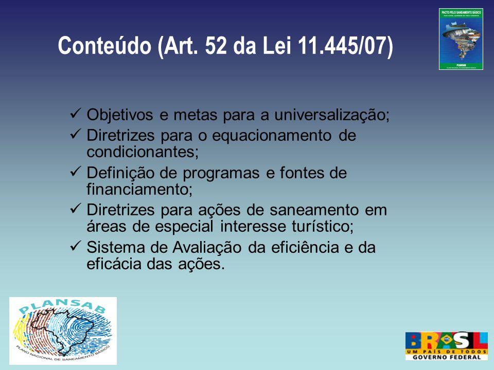 Conteúdo (Art. 52 da Lei 11.445/07) Objetivos e metas para a universalização; Diretrizes para o equacionamento de condicionantes; Definição de program