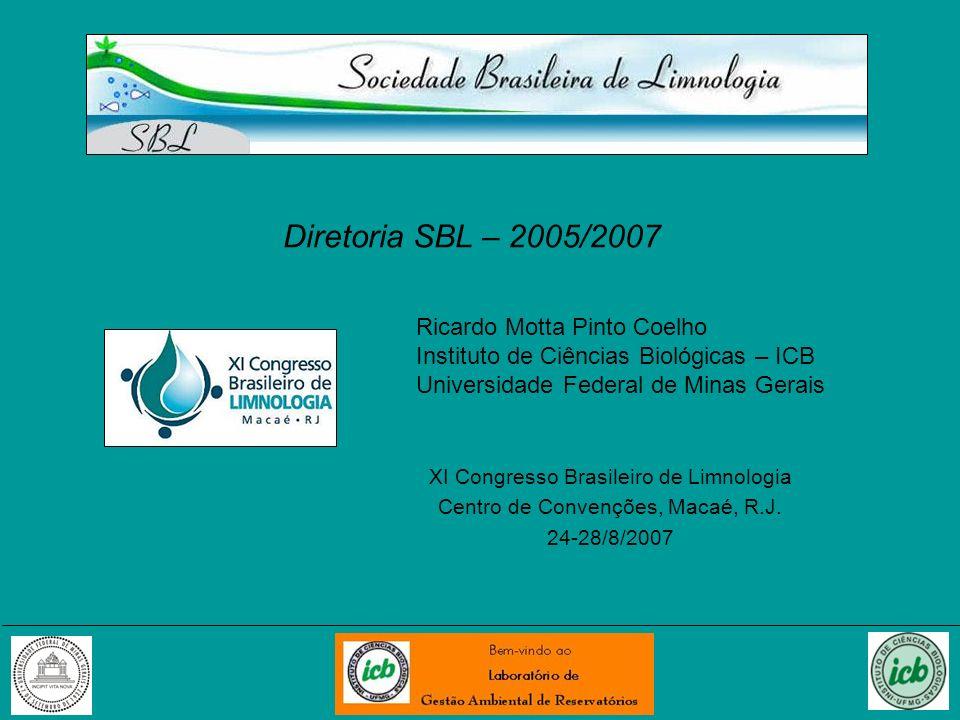 Diretoria SBL – 2005/2007 XI Congresso Brasileiro de Limnologia Centro de Convenções, Macaé, R.J. 24-28/8/2007 Ricardo Motta Pinto Coelho Instituto de