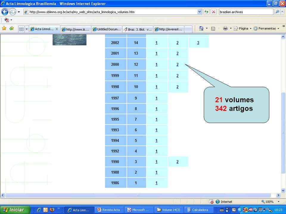21 volumes 342 artigos