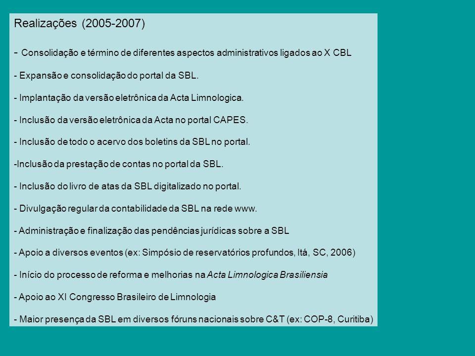 Realizações (2005-2007) - Consolidação e término de diferentes aspectos administrativos ligados ao X CBL - Expansão e consolidação do portal da SBL. -