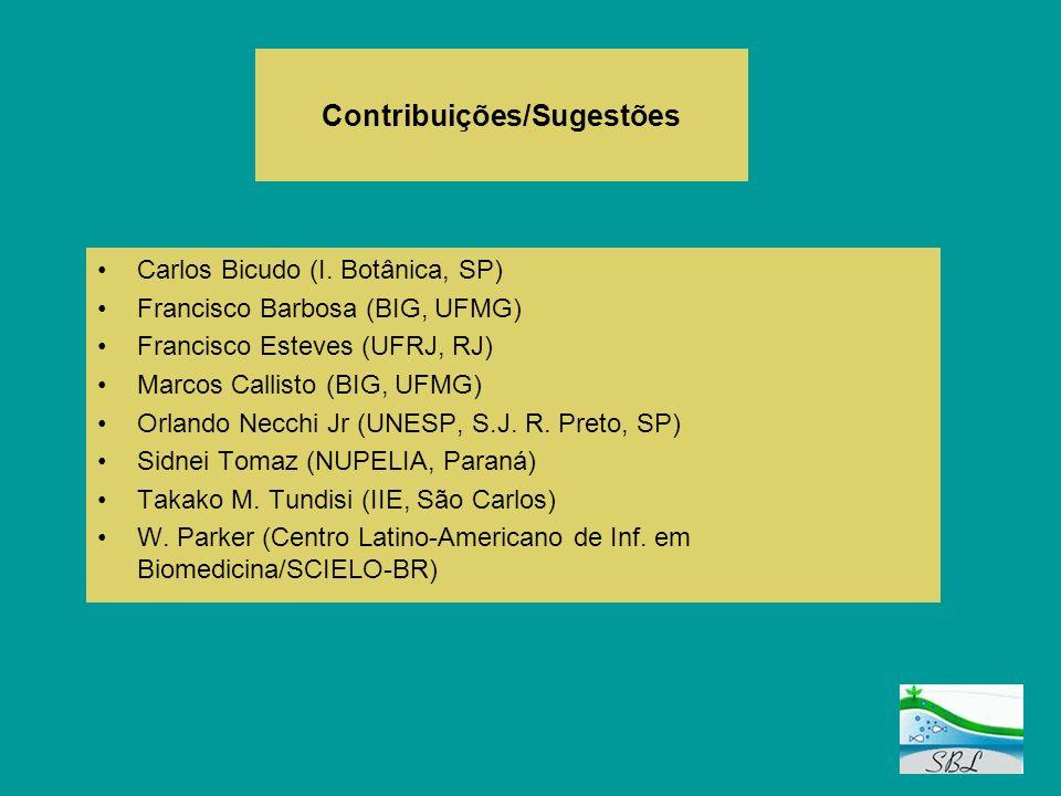 Contribuições/Sugestões Carlos Bicudo (I. Botânica, SP) Francisco Barbosa (BIG, UFMG) Francisco Esteves (UFRJ, RJ) Marcos Callisto (BIG, UFMG) Orlando